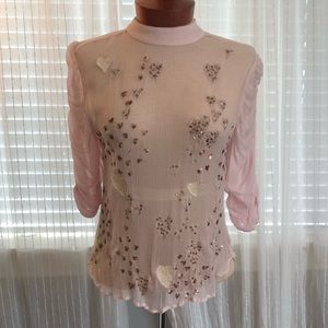Free People Sheer Romantic Embroidered Blouse